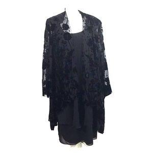 Jeffrey & Dara 2 Piece Black Jacket Dress Set 24W